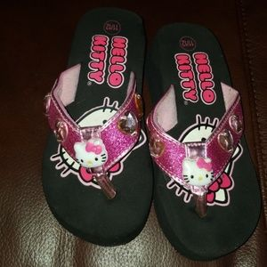 9289804fb9387b Hello kitty size 11 12 girls wedge flip flop
